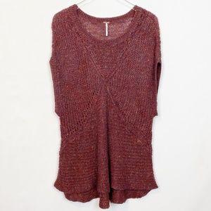Free People Tatiana Knit Pullover Raisin Red Large
